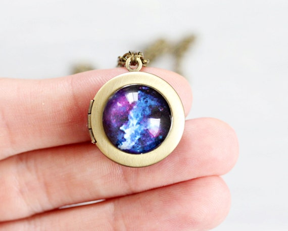 Tiny Cosmic Galaxy Blue locket necklace - Space jewelry