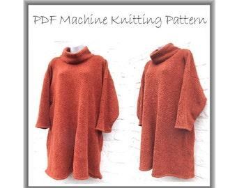 Machine knitting PDF pattern. Big, baggy tunic, dress, plus size size 32 - 50 inch bust easy knit
