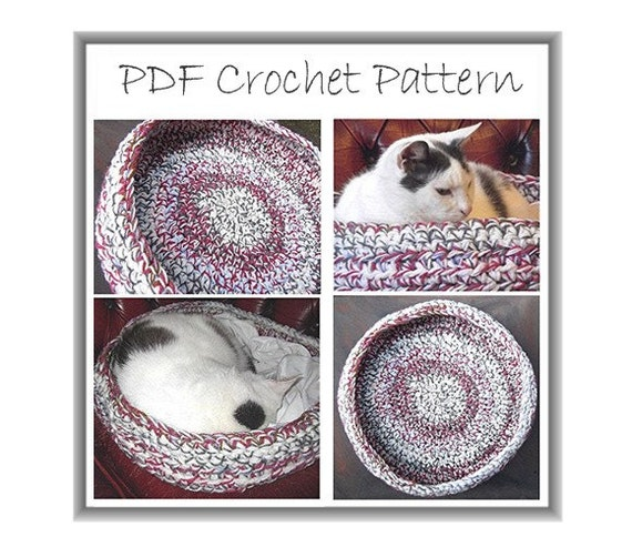 Crochet Patterns Pet Beds : Pet Basket Pattern - Crochet Pet Bed - Chunky Dog Bed - Chunky Cat Bed ...
