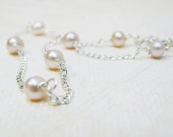 Anklet ~ Blush Freshwater Pearls and Silver Chain