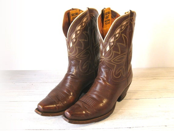 40 S Vintage Cowboy Boots Nocona Brown All Leather Pee