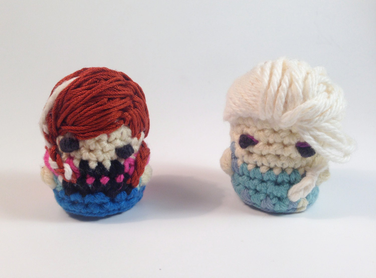 Items similar to Crocheted Disneys Frozen Elsa and Anna ...