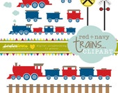 Red and Navy Trains Clipart - Railroad Crossing Clipart - Railroad Clipart - Train Clipart - Clipart Set of 11