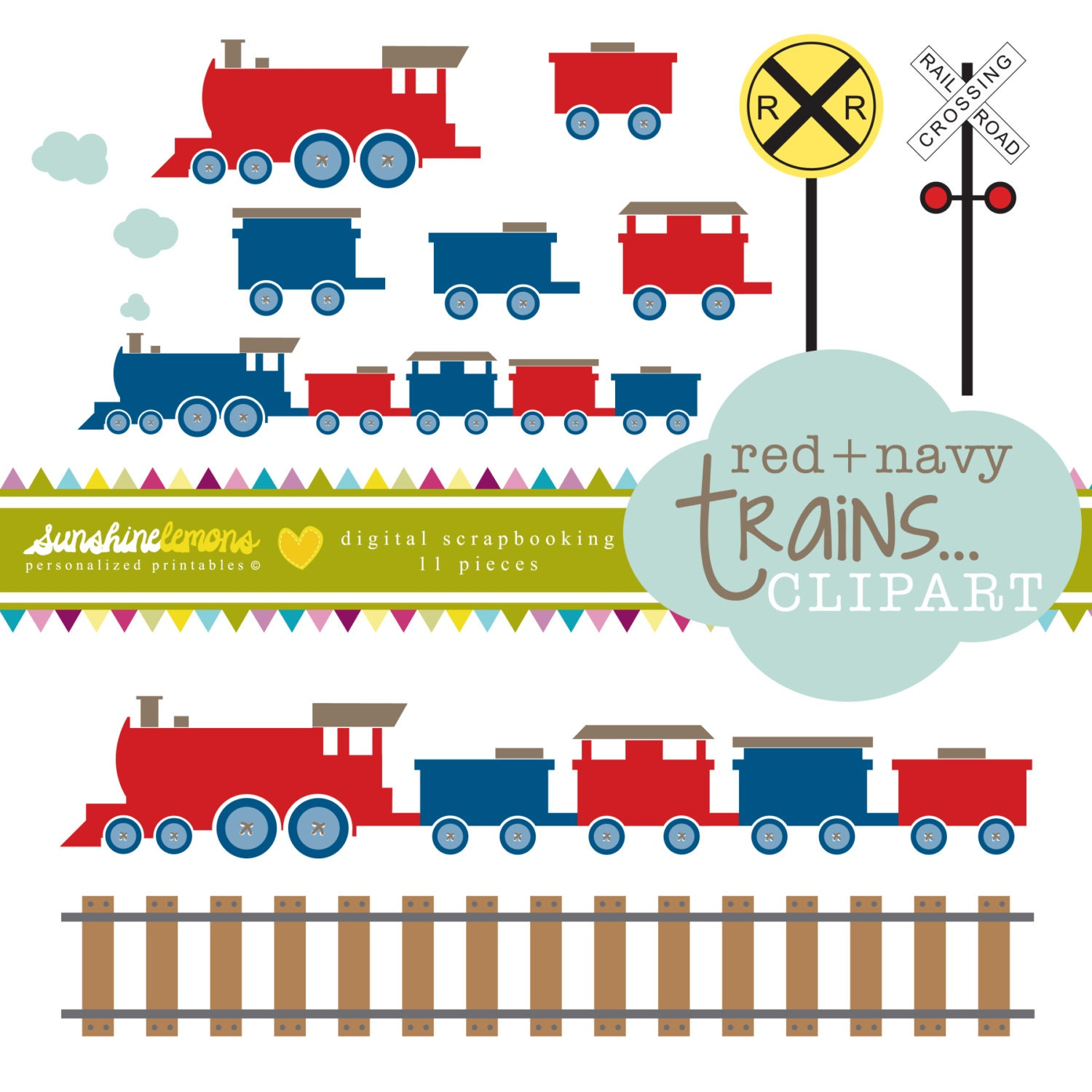 Thomas The Train Tracks Clip Art Red and navy trains clipart