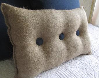 lumbar style 11x19 Burlap Pillow with Navy organic cotton duck buttons