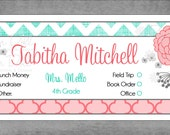 School Envelopes for Kids - Pink Moroccan & Distressed Aqua Chevron Print with Whimsical Flowers - Assorted Colors - Set of 10 - Tabitha*