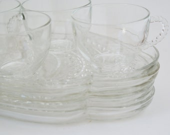 Snack Trays- Clear Glass Set of 4 Federal Homestead Plates & Matching cups