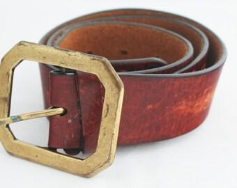 Belt- Vintage 1970s Worn Leather embellished medium
