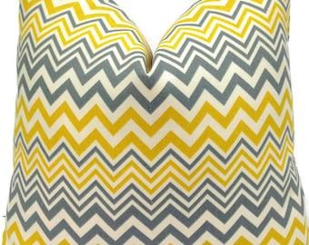 SALE-Suburban Home-Indoor-Outdoor-Zig Zag 20X20 Pillow Cover Home Decor Fabric-Chevron-Grey-Throw Pillow-Accent Pillow-Toss Pillow