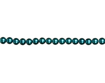 4mm Teal Glass Pearl Beads (2 Strands)