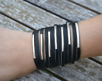 Black leather hand stitched multi strand bracelet with silver metal tubes