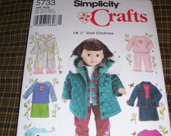 New American Girl Doll Clothing Patterns....Simplicity #5733 ..18 Inch Doll Patterns..Jacket..PJ's..Skirt..Top..Patterns...Cute Patterns...