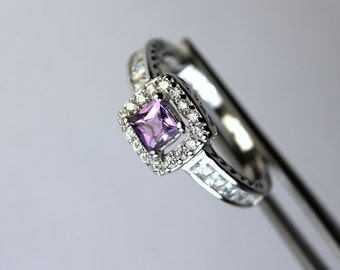 Genuine Amethyst Square in a Pretty Halo Accented Sterling Silver Setting