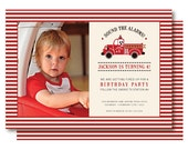 Vintage Fire Truck Photo Birthday Invitations, Fireman Birthday Invitation, Printable or Printed