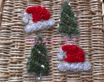 Santa Hat and Christmas Tree, Lot of 4,  Shabby Flower Trim,  Chiffon Rosettes, Boutique Flowers, Christmas, LIMITED EDITION