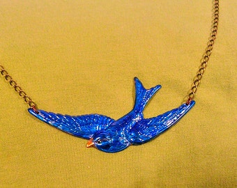 Hand Painted Blue Bird Necklace. Antiqued Brass Chain.28 inches