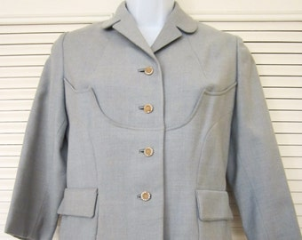 Vintage 1950s Blue Rayon Jacket with Rhinestone Buttons