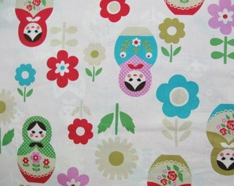 Matryoshka nesting dolls fabric by Kokka Trefle