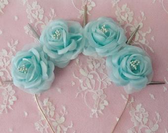 Mermaid tears -Pastel Goth Seafoam Aqua flower  headband with silver white spikes