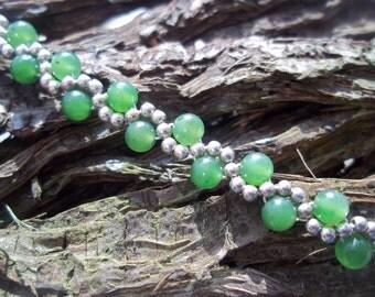 """Jade & Sterling silver """"Wavy"""" bracelet"""