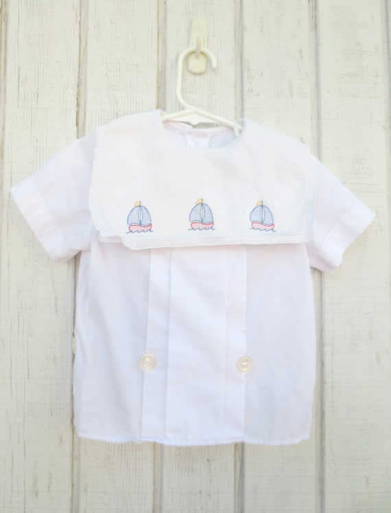 Vintage Baby Clothes Sailboat Nautical Toddler Tot by