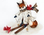 Woodland Fox Christmas Note Cards, Snow Skis, Red Birds, Winter Snow Scene