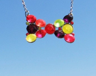 Bow necklace with colorful rhinestones - small bow pendant - colorful delicate jewelry