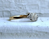 British Antique 9K Yellow Gold/ Platinum Diamond Ring.