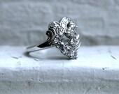 Vintage 14K White Gold Diamond Cluster Engagement Ring - 0.81ct.