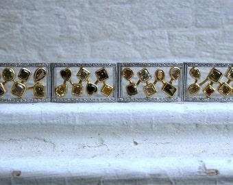 Vintage 14K White and 18K Yellow Gold Diamond Bracelet - 17.26ct.