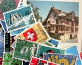 Swiss used postage stamps mixed colours for mixed media collage and scrapbooking pack 1