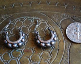 ANTIQUE HEARTS EARRINGS - 1950s Sterling Silver Earrings