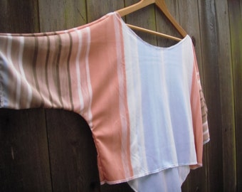 Silky Sunset Summer Blouse/ Eco Hi Lo Shirt/ Funky Crop Top M/L Blue Cream Peach Mocha