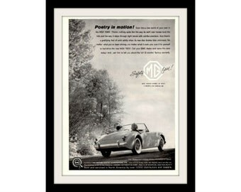 "1960 MGA 1600 Convertible Car Ad ""Poetry"" Vintage Advertisement Wall Decor Print"