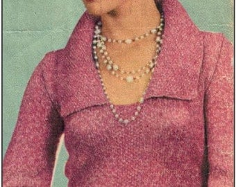 PDF 1950s Ladies Slim Fitted Shawl Collar Pullover Sweater  - Knit pattern PDF 5592