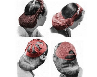1940s Snood Set of 4 Head Coverings Hats  - 4 Crochet patterns PDF 0435