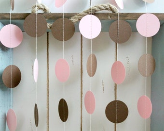 Pink and Brown 12 ft Circle Paper Garland- Wedding, Birthday, Bridal Shower, Baby Shower, Party Decorations