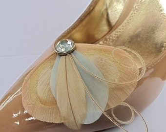 Petite Shoe Clip Collection - Ivory, Light Blue and Beige Peacock Feather Shoe Clips