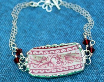 Bracelet, Broken China Jewelry, Broken China Bracelet, Red Transferware, Sterling Silver Chain