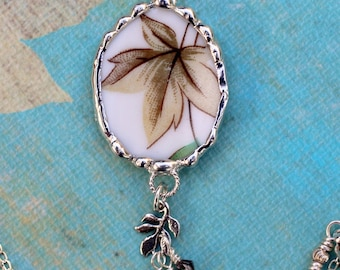 Necklace, Broken China Jewelry, Broken China Necklace, Autumn Leaves China, Sterling Silver Chain
