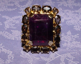 Huge Natural Amethyst and Smoky Topaz Bronze Gemstone Ring Size 12