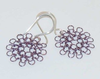 wire earrings -- hand knit, small in amethyst