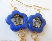 indigo magnesite flower, Montana blue Swarovski crystal, freshwater pearl and gold chain earrings, handmade, ready to ship, gifts for women