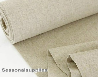 Home Decor Weight Fabric Cloth- Natural Pure Linen Cotton Fabric, Washed Natural Linen Fabric Furniture Upholstery Fabric 1/2 Yard (QT203)
