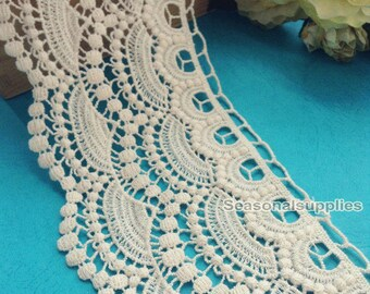 2 Yards Lace Trims 11cm Wide,Embroidery,Vintage Style,Beige Color,Floral,European Royal Texture,Cotton(ZL16)