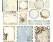 Printable Sheet of Nature Garden Journaling Embellishments - 1 Digital Collage Sheets as an instant Download File