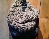 Hand Crocheted Knit infinity Scarf - Chocolate