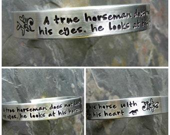 Handstamped Horse Quote Cuff Bracelet-Equestrian jewelry-Hand Stamped Cuff