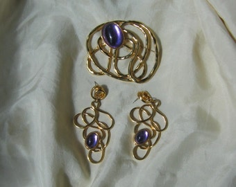 Vintage 80s 90s Large Brooch and Earrings