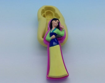 Mulan Disney Princess Flexible Silicone Push Mold for Polymer clay, plaster,cold porcelain,Resin,Wax, Food,Sweets,fimo,chocolate.